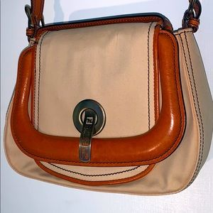 FENDI - Vintage Canvas / leather shoulder saddle